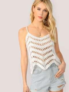Scallop Hem Crochet Knit Cami Tank Top