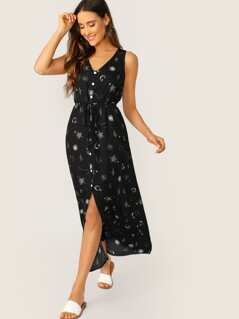 Constellation Button Front Waist Tie Tank Dress