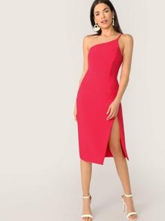 One Shoulder Side Slit Knee Length Dress