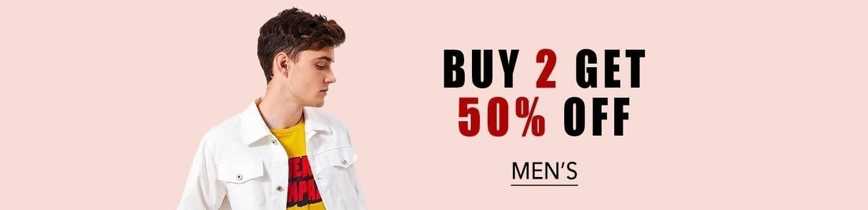 Buy 2 Get Flat 50% Off on Men's Apparels