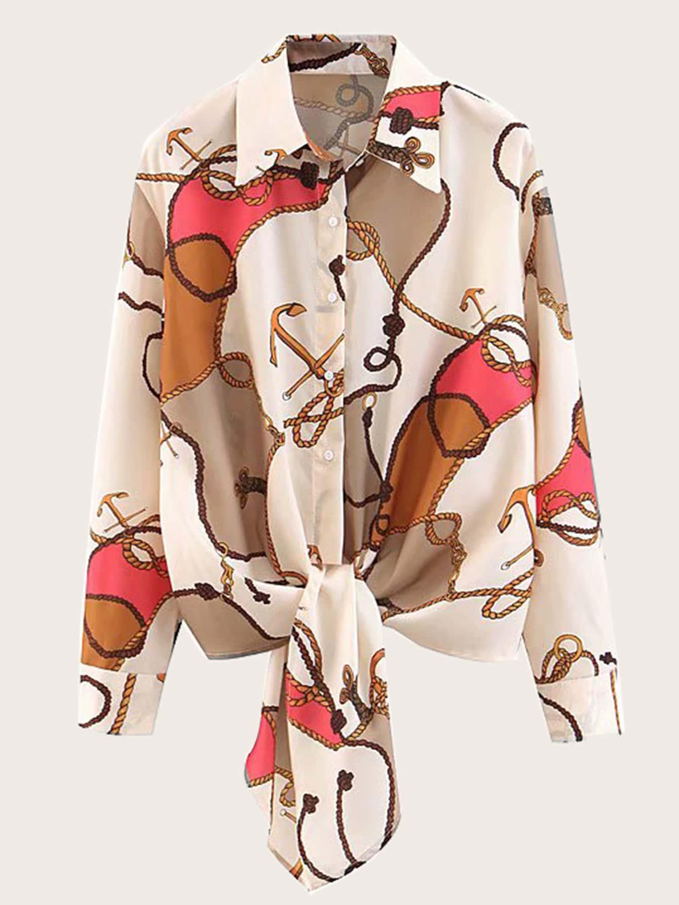 Фото - Блузу с бантом и графическим принтом от SheIn цвет многоцветный