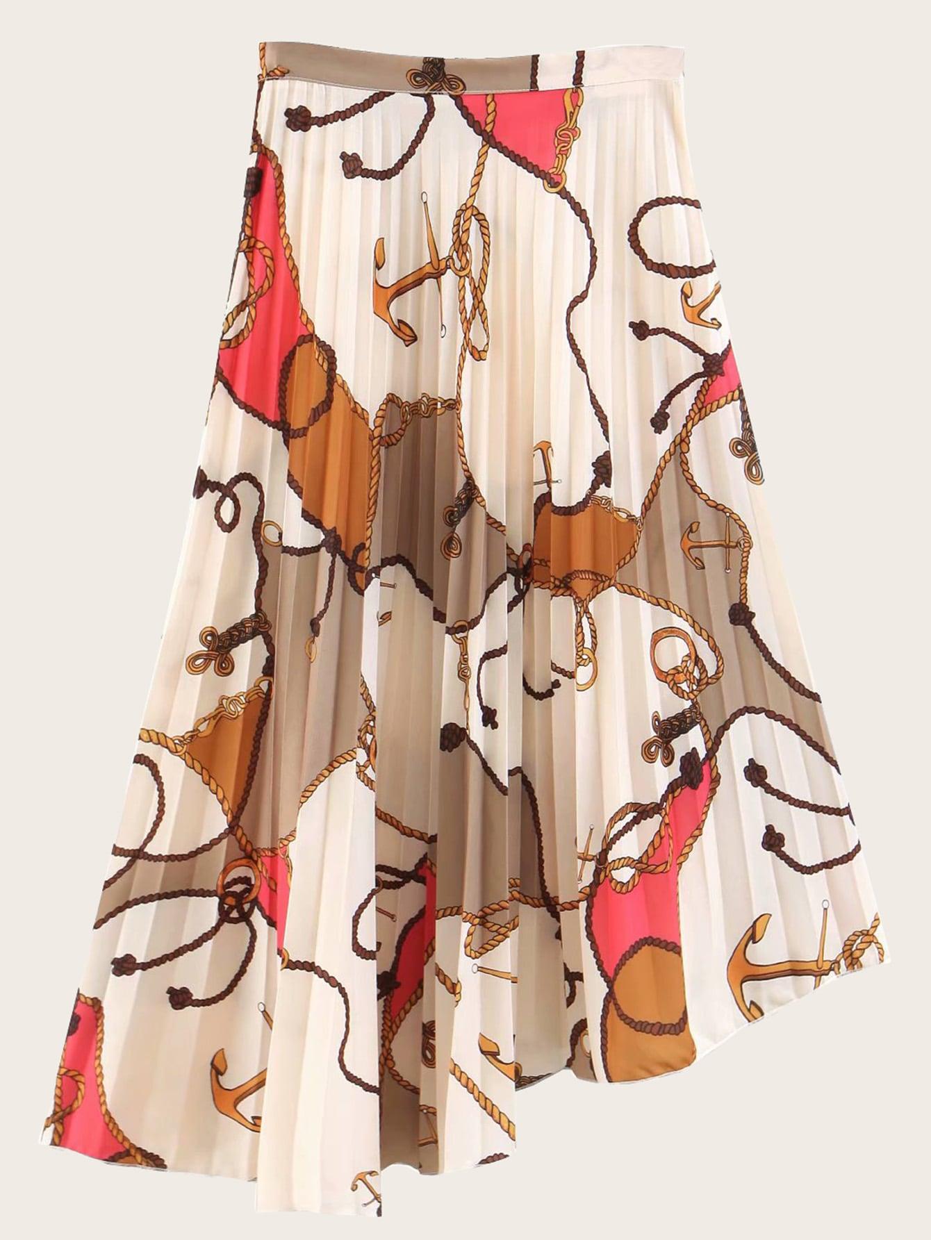 Купить Плиссированная юбка с асимметричным низом и графическим принтом, null, SheIn