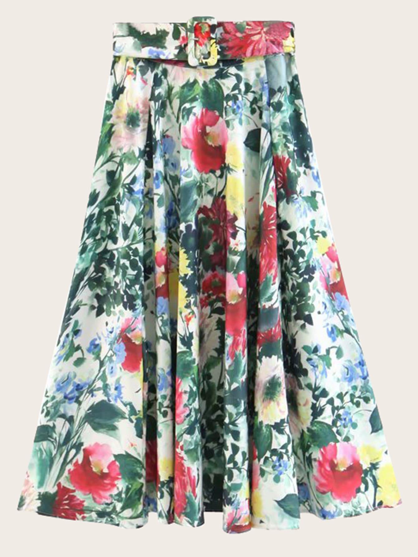 Купить Цветочная юбка с поясом, null, SheIn