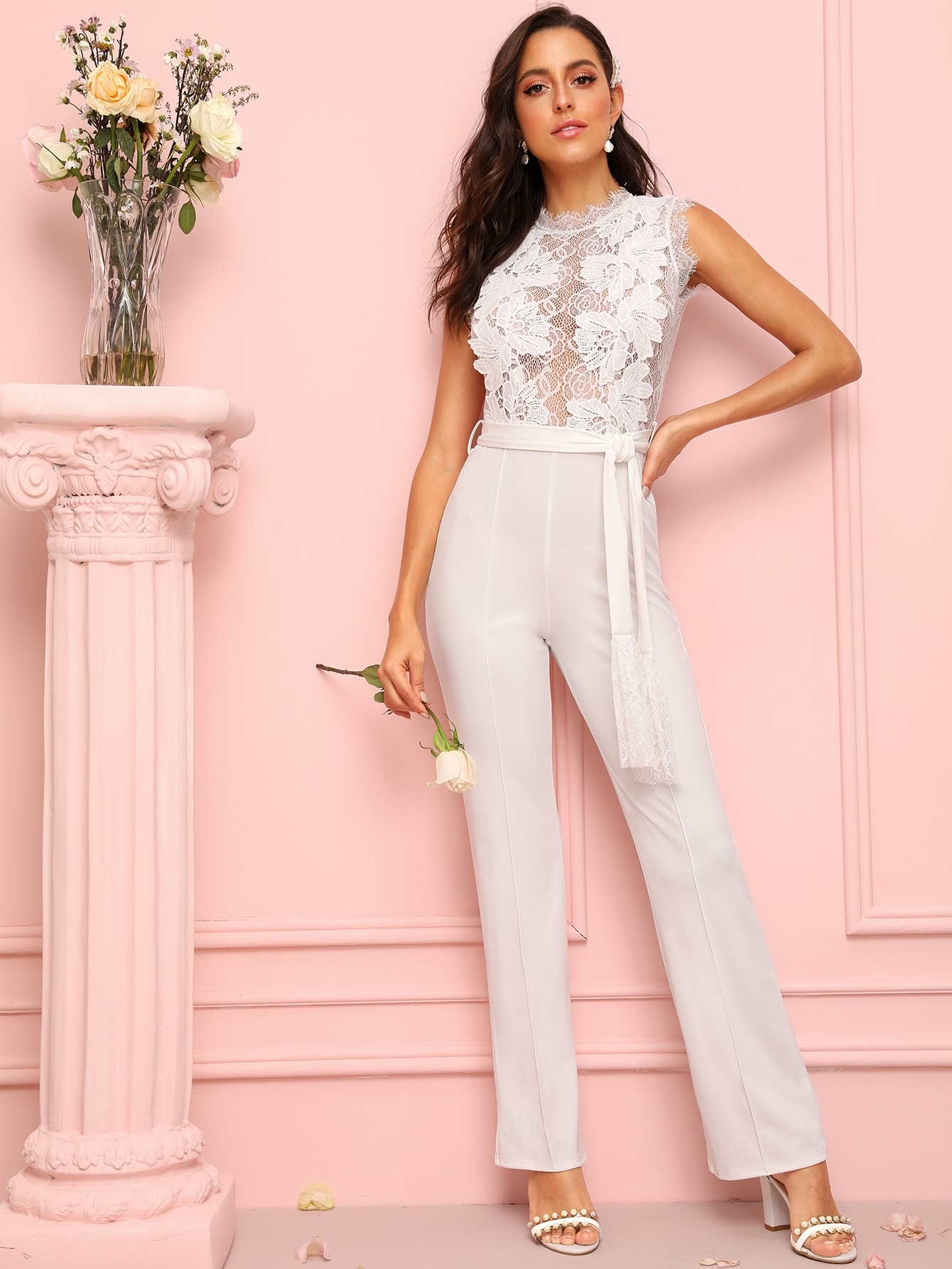 Lace Panel Zip Back Self Tie Jumpsuit Mary P.