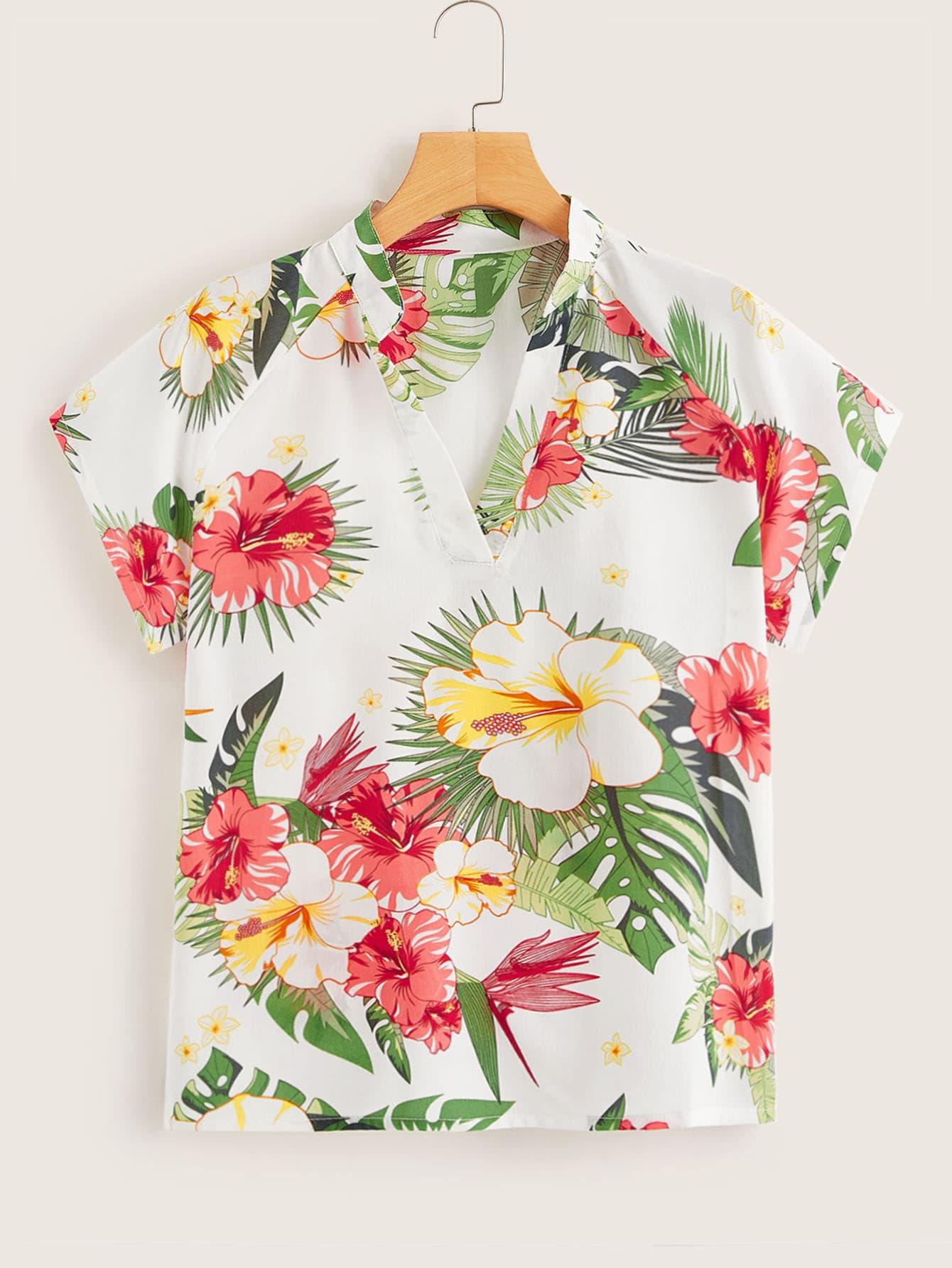 Фото - Цветочная блуза с V-образным вырезом от SheIn цвет многоцветный
