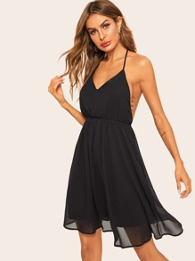 Contrast Mesh Backless Halter Dress