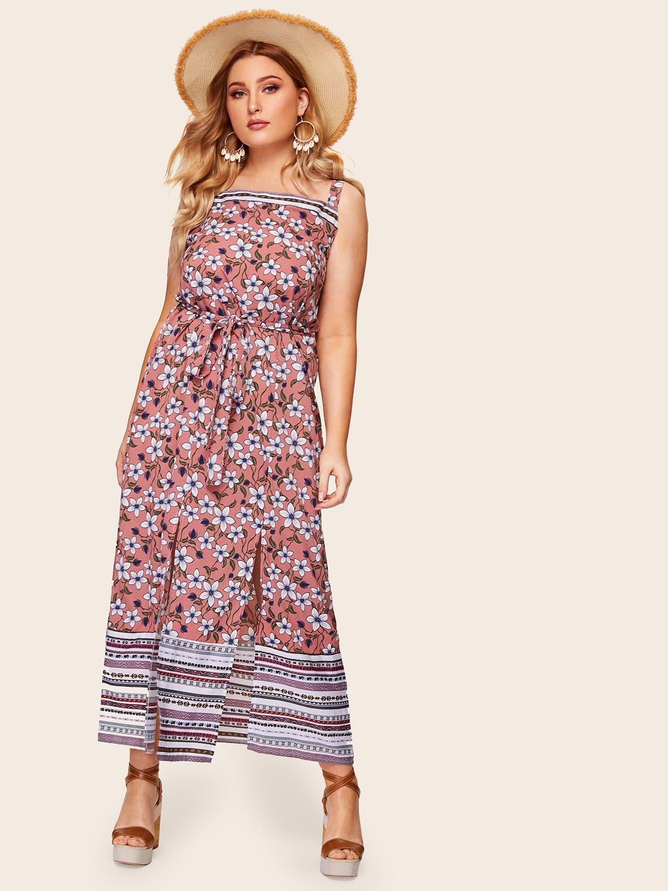 Фото - Размера плюс цветочное платье на бретелях с разрезом от SheIn цвет многихцветные