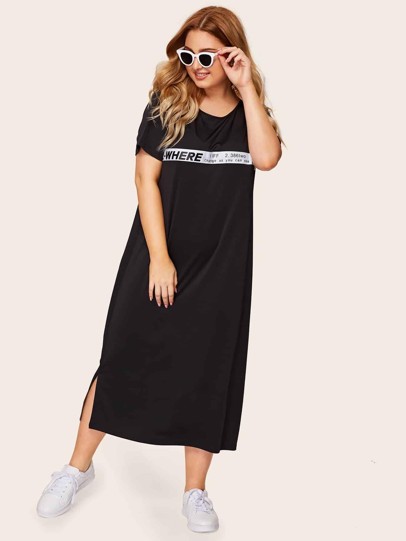 Фото - Размера плюс платье с полосками и текстовым принтом от SheIn цвет чёрные