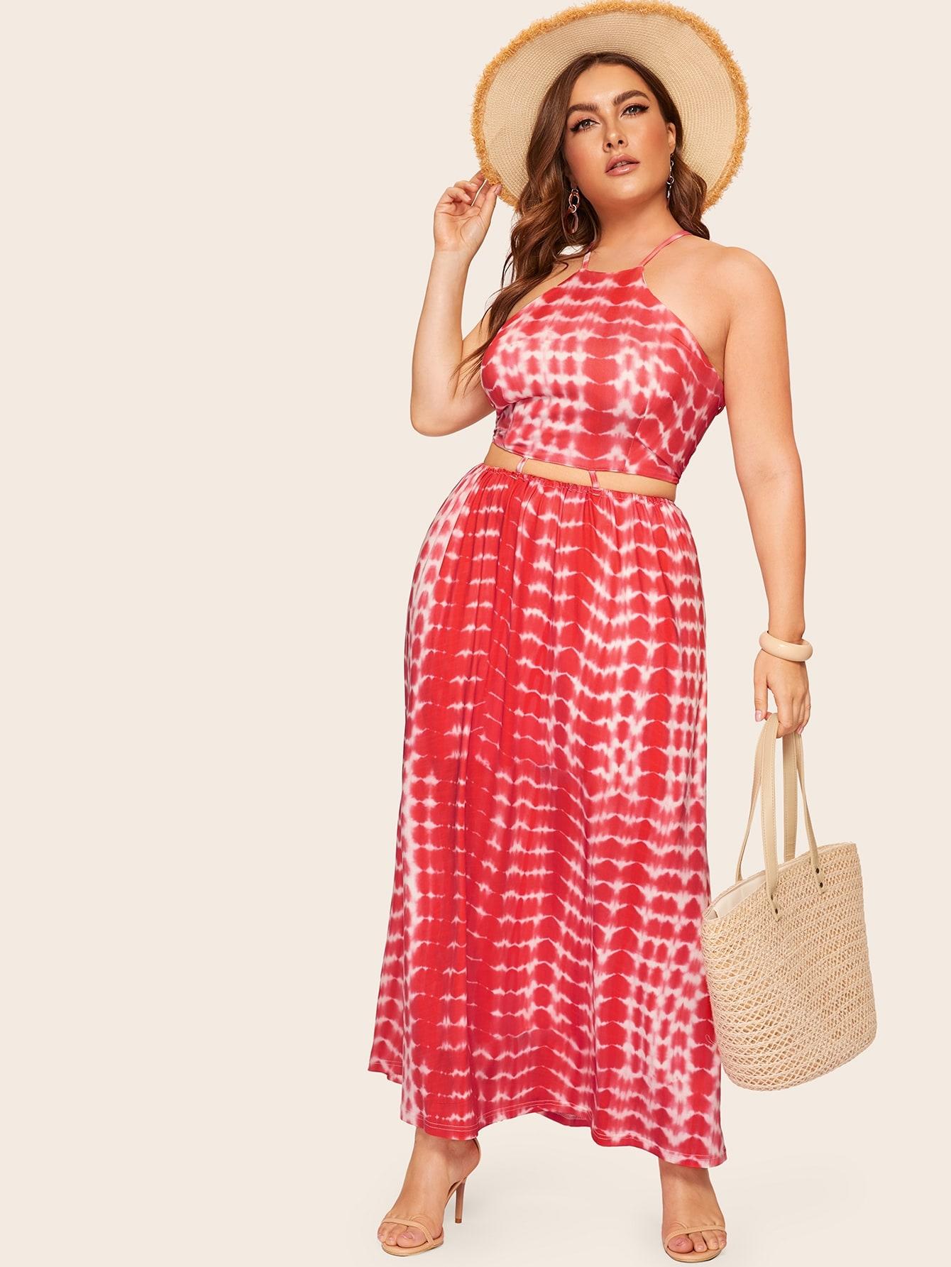 Фото - Размера плюс разноцветное платье на бретелях от SheIn цвет красные