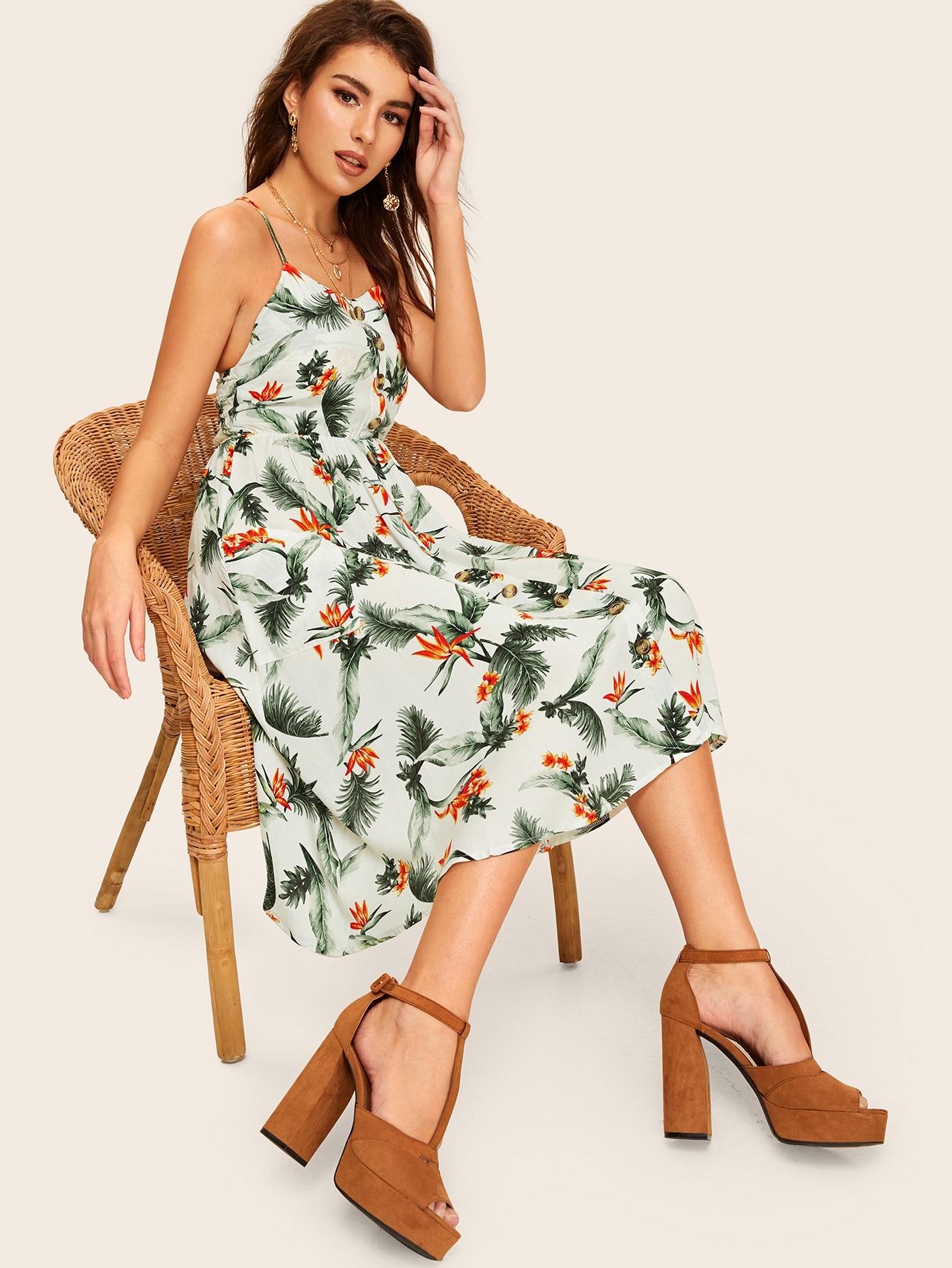 Фото - Однобортное платье на бретелях с двумя кармана и принтом листьев от SheIn цвет многоцветный