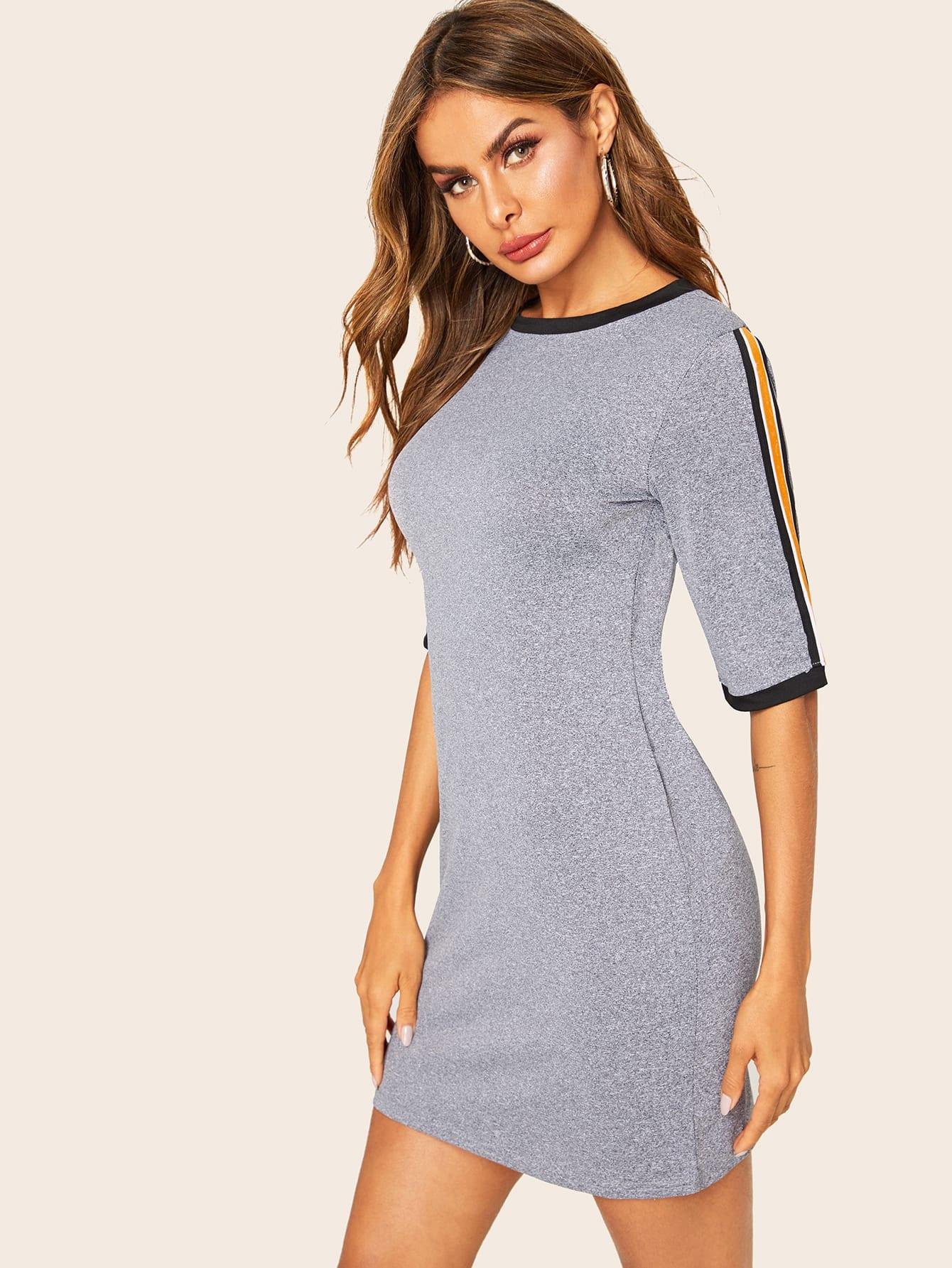 Фото - Платье с полосками от SheIn цвет серые