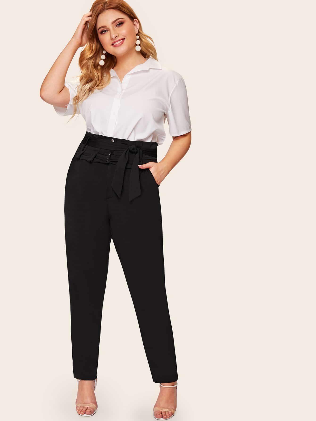 Фото - Размера плюс брюки с поясом от SheIn цвет чёрные