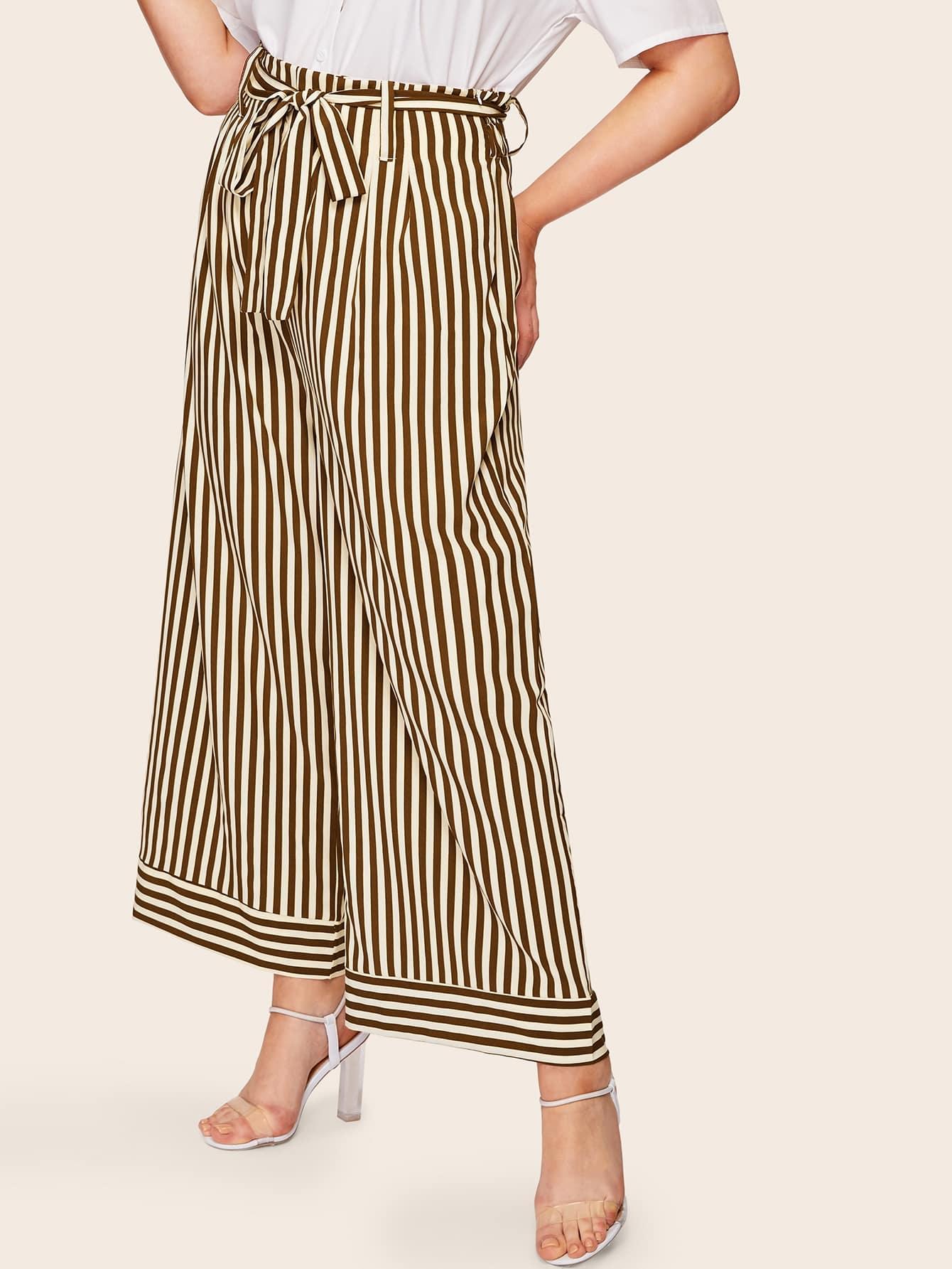 Фото - Размера плюс широкие полосатые брюки с поясом от SheIn цвет коричневые