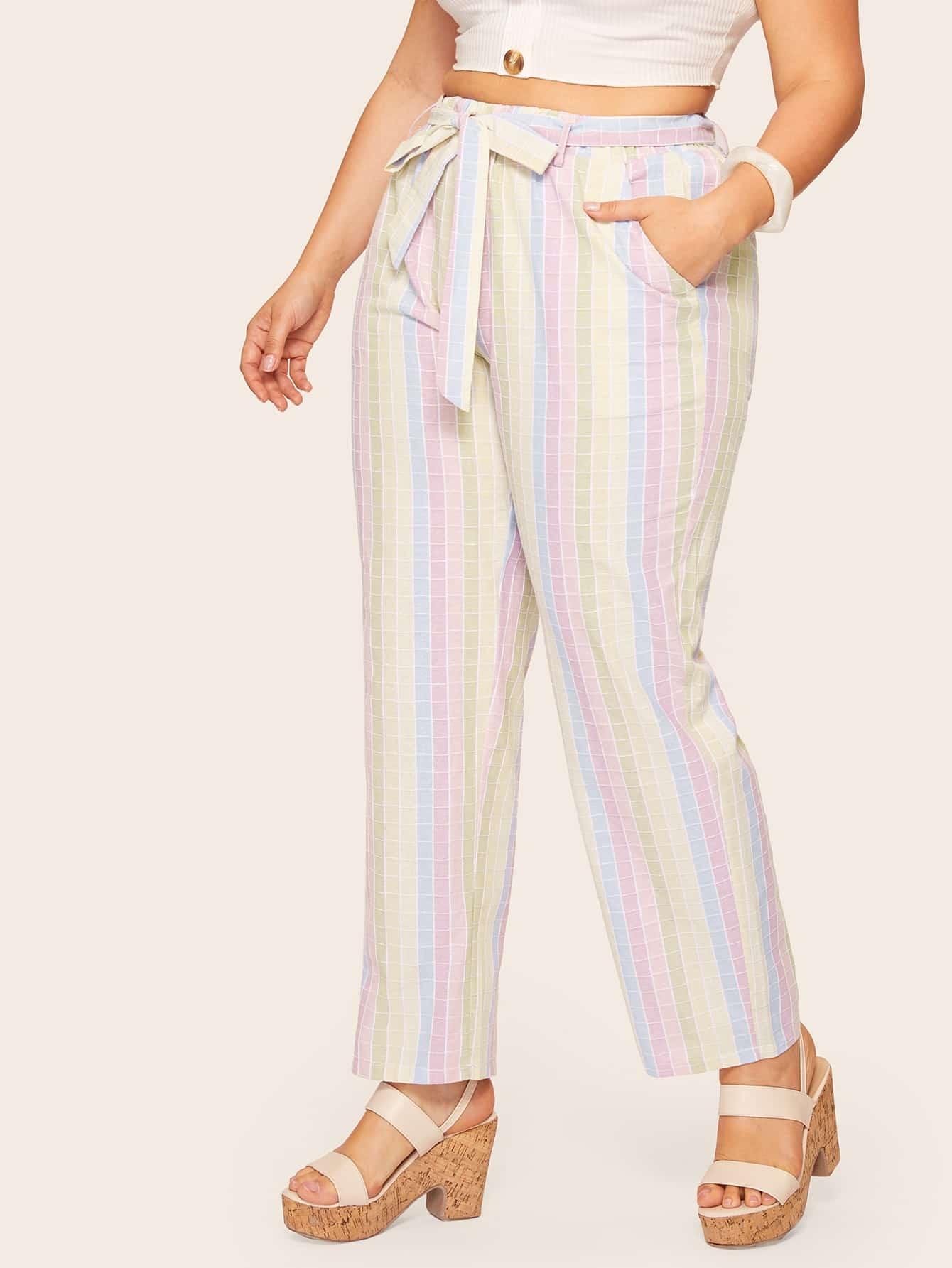 Фото - Размера плюс брюки в клетку с поясом от SheIn цвет многихцветные