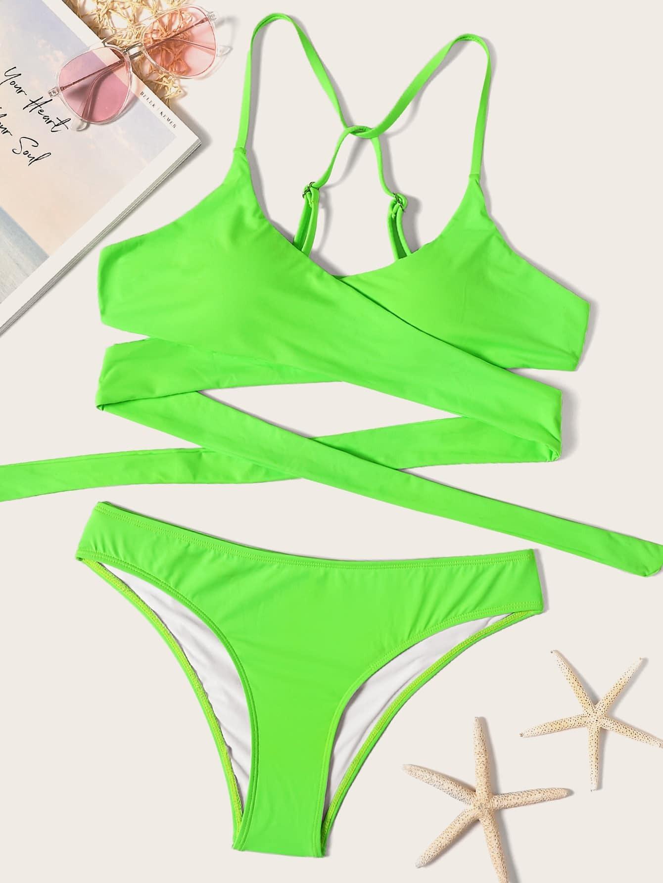 Фото - Неоновый комплект бикини на запах от SheIn зеленого цвета