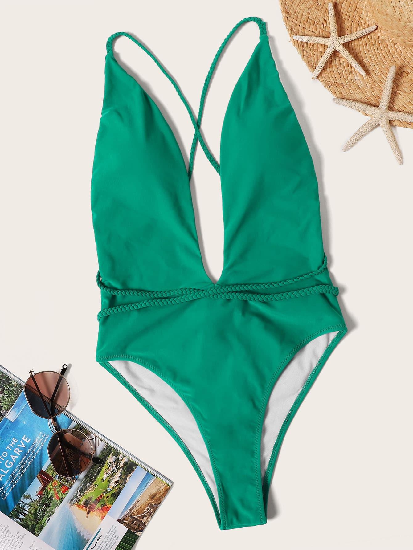 Фото - Слитный купальник с открытой спинкой и глубоким U-образным вырезом от SheIn зеленого цвета
