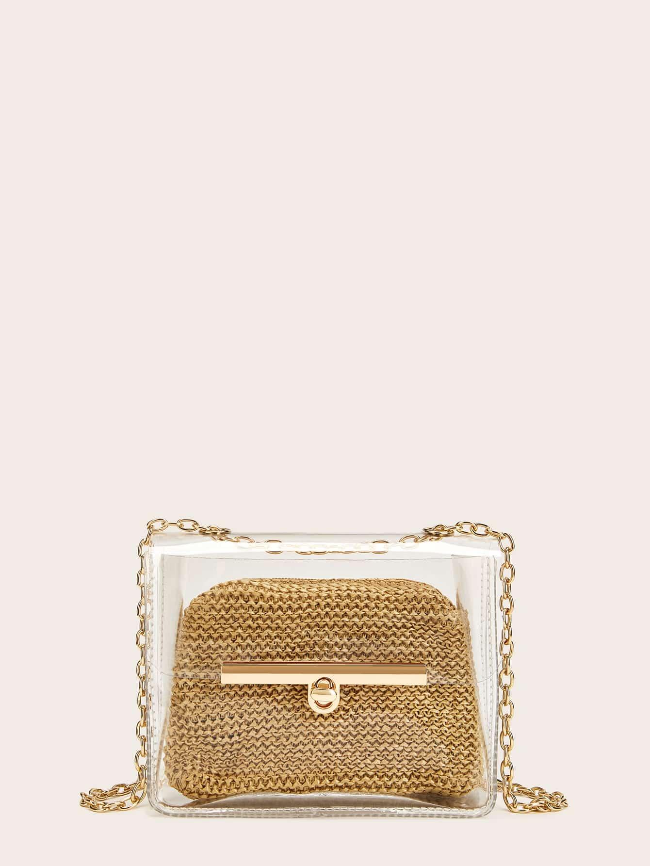 Фото - Прозрачная сумка через плечо с цепочкой от SheIn цвета хаки