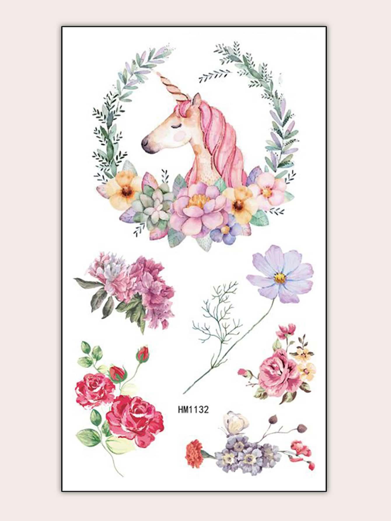 Купить Татуировка в форме единорога и цветка 1 лист, null, SheIn