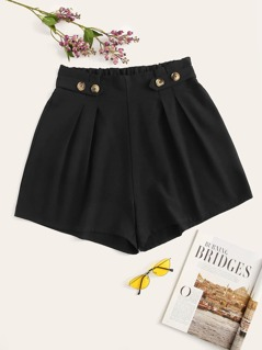 Plus Frilled Waist Button Detail Solid Shorts