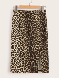 Slit Slid Leopard Print Skirt