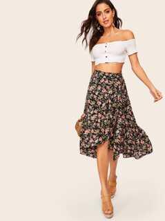 Waist Knot Asymmetrical Hem Floral Skirt
