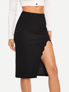 Scallop Edge Split Skirt