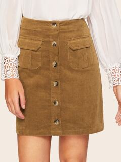 Flap Pocket Front Button Up Corduroy Skirt