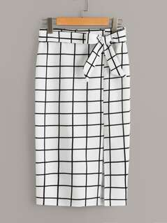 Split Grid Pencil Skirt With Belt