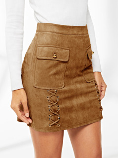 Flap Pocket Lace Up Detail Suede Skirt