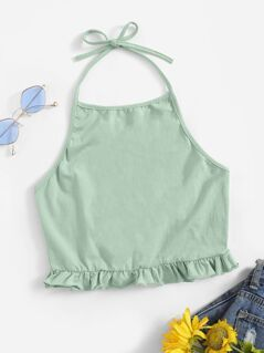 Frilled Hem Open Back Halter Top