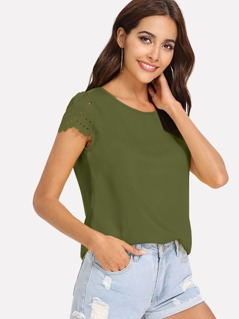 Keyhole Back Scallop Laser Cut Top