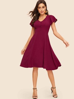 V Neck Button Flutter Sleeve Fit & Flare Dress