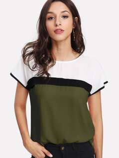 Keyhole Back Color-block Top