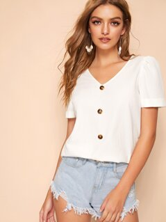 Button Up Cuffed Puff Sleeve Blouse