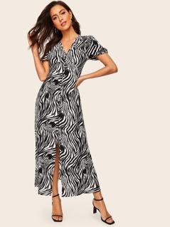Zebra Print Wide Waist Button Front Dress