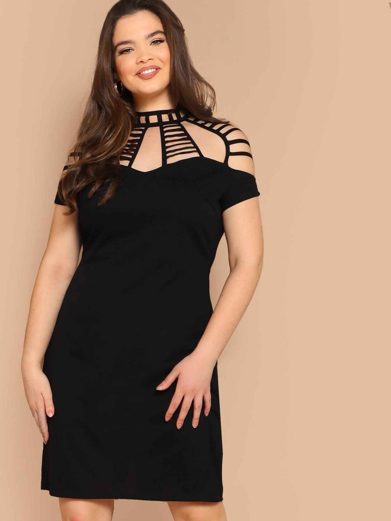 Размер плюс облегающее платье с вырезом сзади