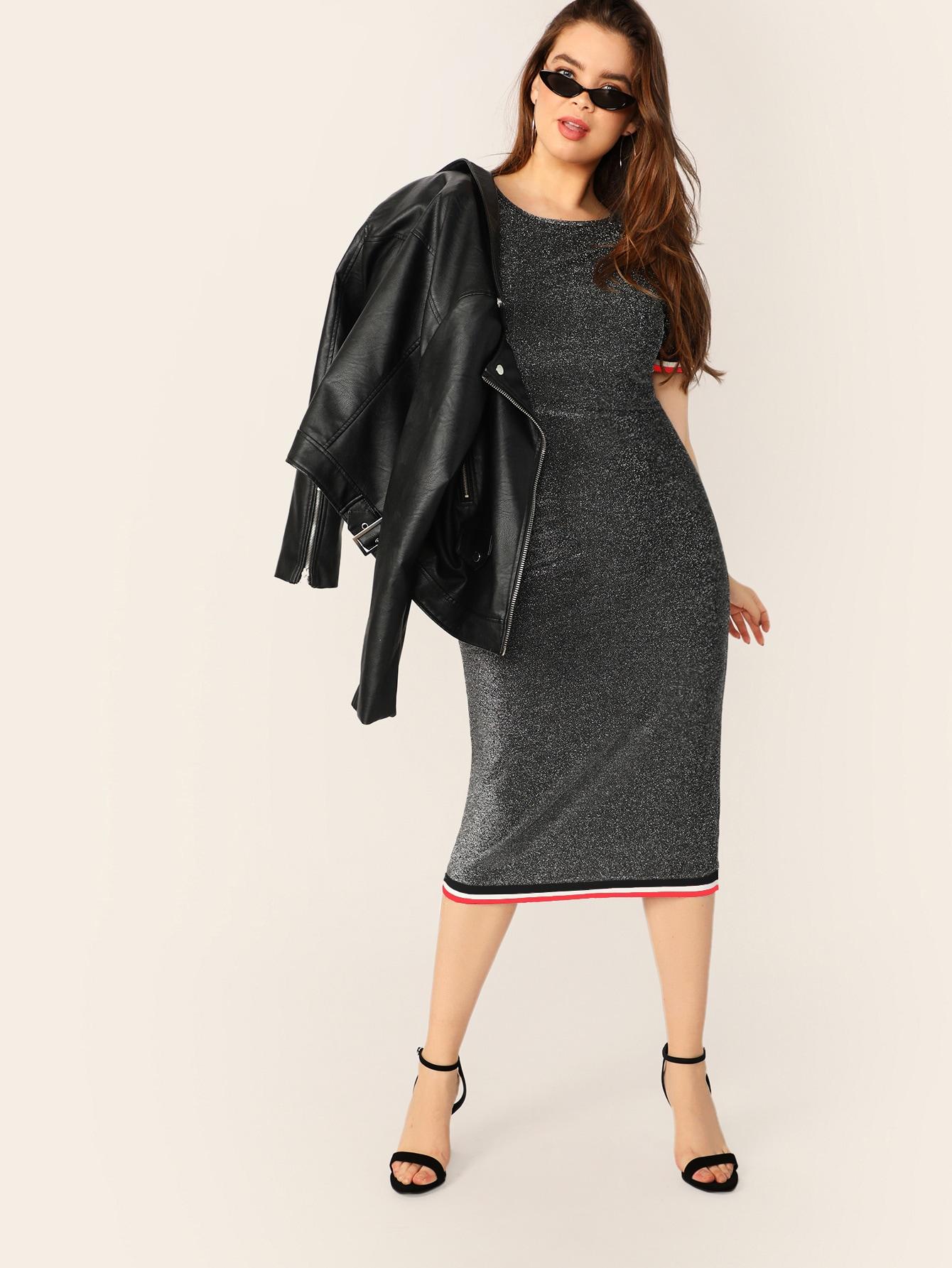 Размер плюс блестящее платье-карандаш с полосками