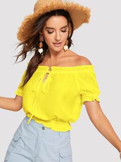 Neon Yellow Frilled Trim Bardot Top