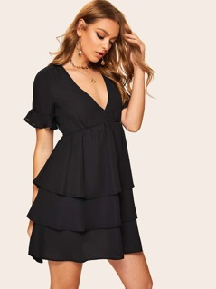 V Cut Knot Back Tiered Hem Dress