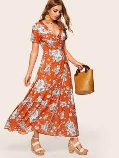 Floral Print Frilled Wrap Dress