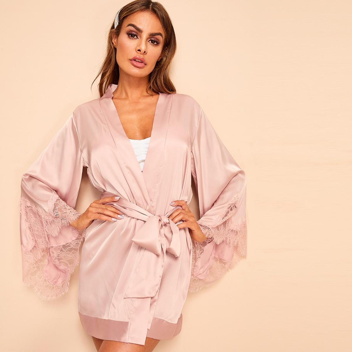 Roze  Casual Vlak Kimono's Riem