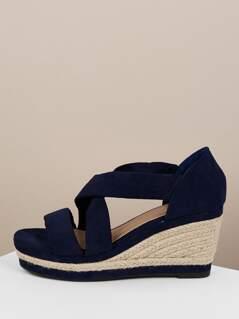 Wrap Strap Jute Trim Platform Sandals