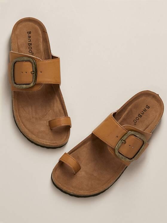 Loop Sole Toe Slide Buckle Accent Sandals Cork xBedCor