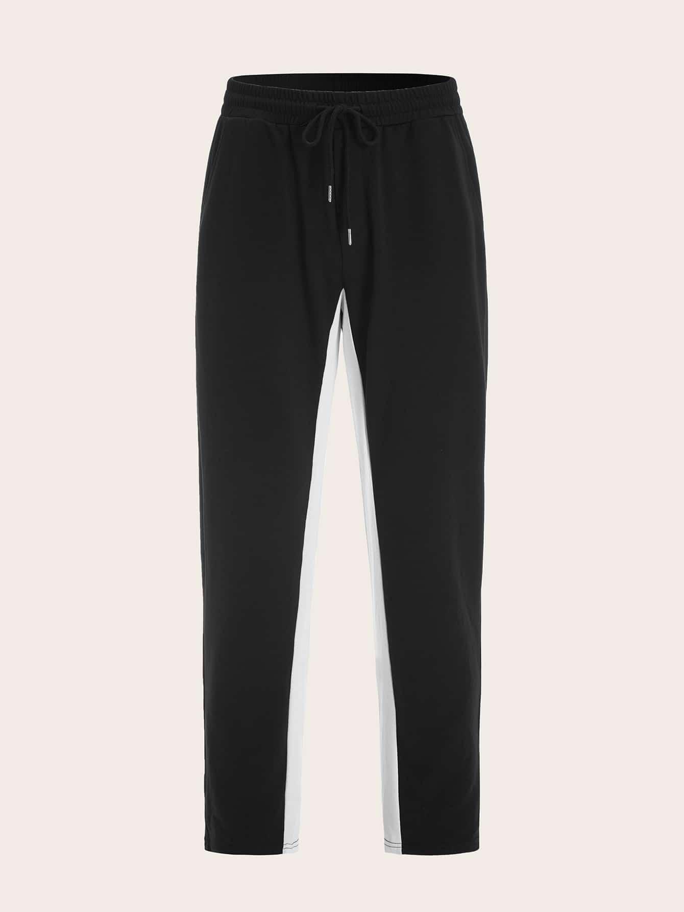 Фото - Мужские двухцветные брюки с поясом от SheIn черного цвета
