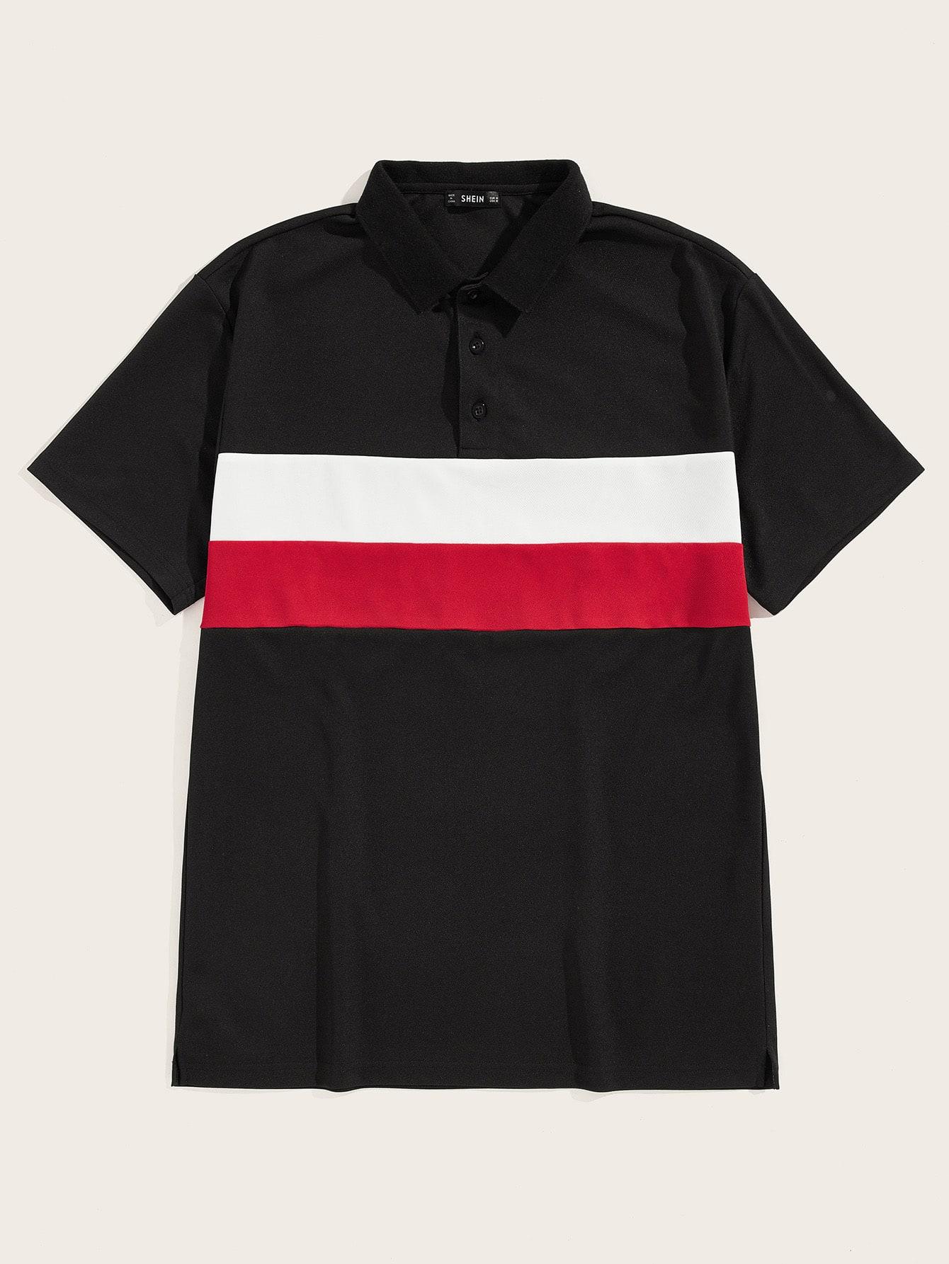 Фото - Мужская контрастная рубашка-поло с пуговицами от SheIn черного цвета