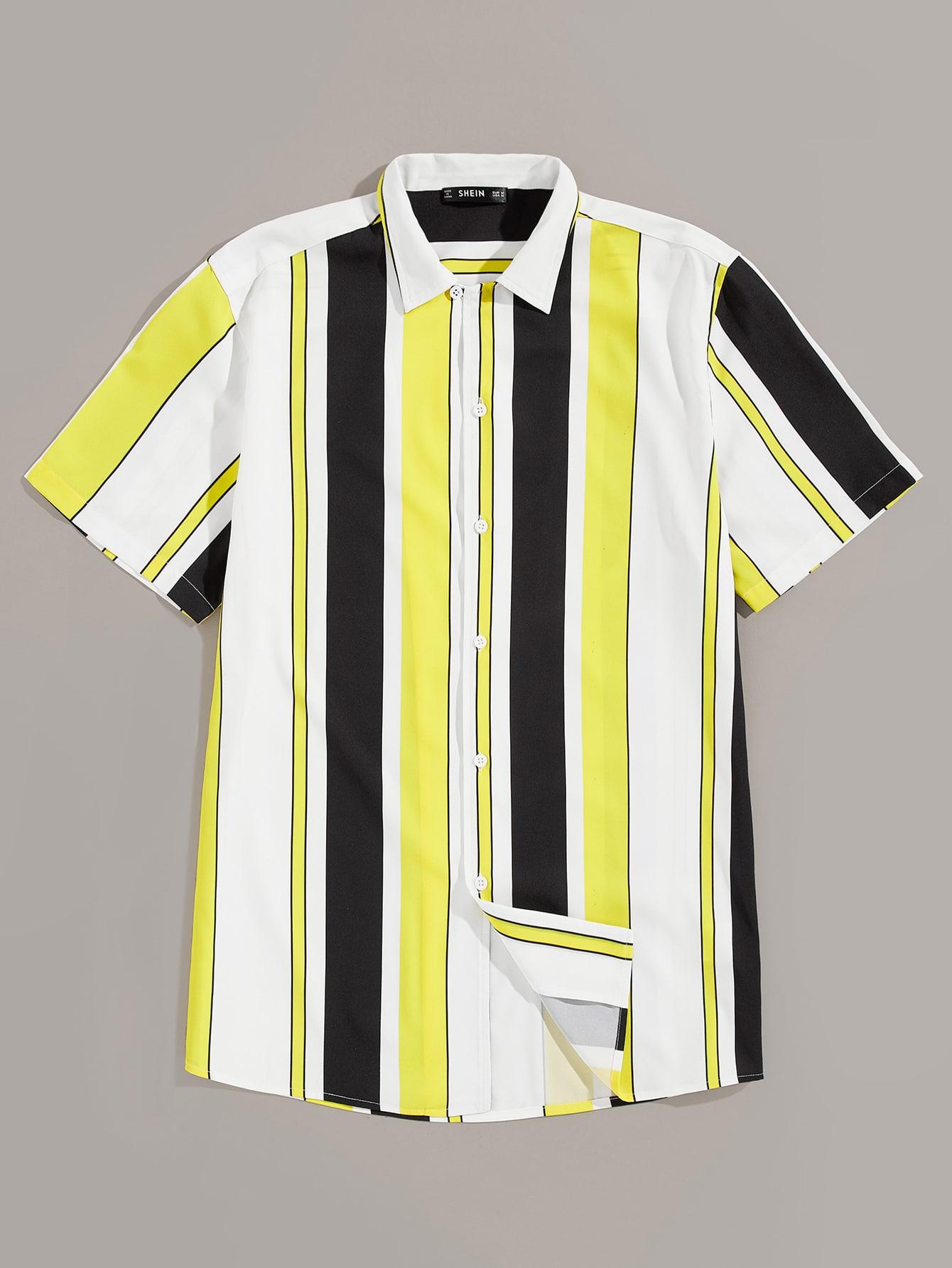Фото - Мужская полосатая рубашка с пуговицами от SheIn цвет многоцветный