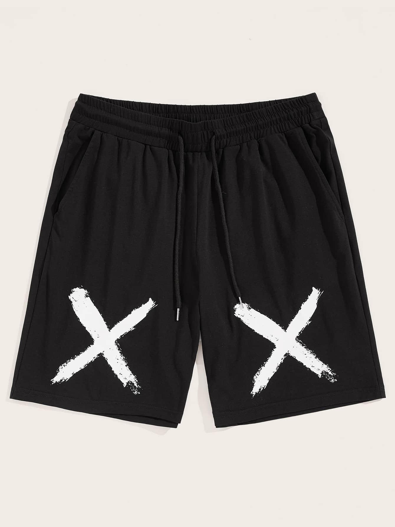 Фото - Мужские шорты с поясом и карманом от SheIn черного цвета