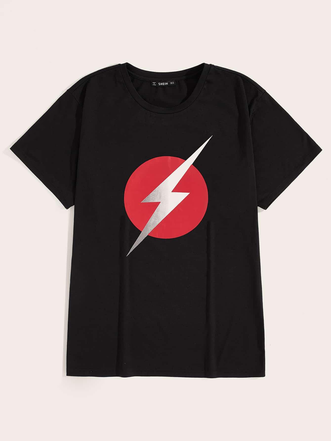 Фото - Мужская футболка с коротким рукавом и графическим принтом от SheIn черного цвета
