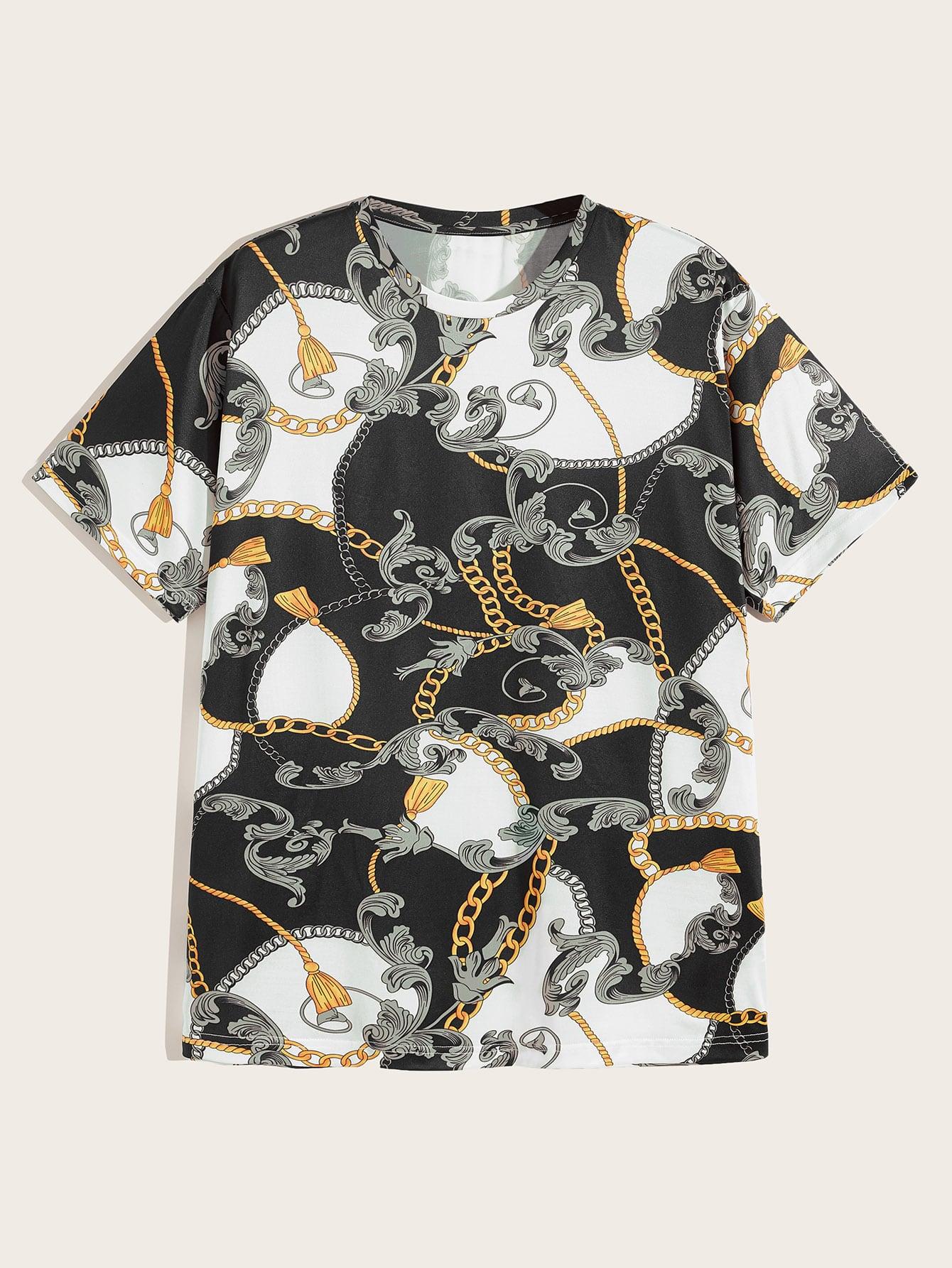 Фото - Мужская футболка с круглым воротником и цепным принтом от SheIn цвет многихцветный