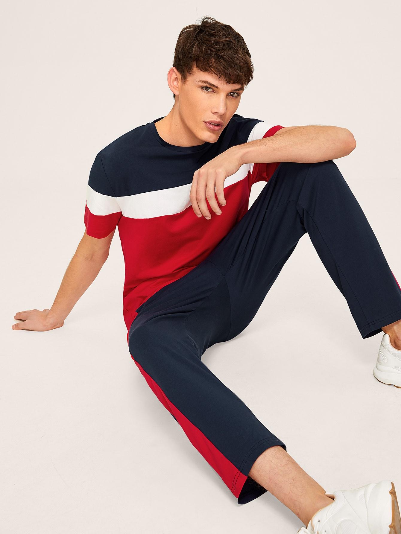 Фото - Мужская контрастная футболка и брюки с поясом комплект от SheIn цвет многоцветный
